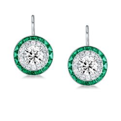 Luxury Halo Created Emerald Sapphire Drop Earrings