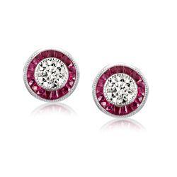 Garnet Halo Round Cut Stud Earrings