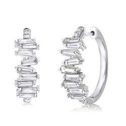 Baguette Cut White Sapphire Earrings For Women