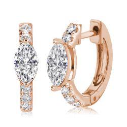Rose Gold Marquise Cut Hoop Earrings