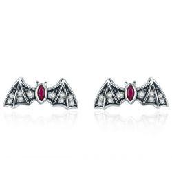Black Bat Marquise Cut Stud Earrings
