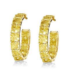 Golden Princess Created Topaz Hoop Earrings