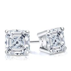 Italo Classic Asscher Created White Sapphire Stud Earrings