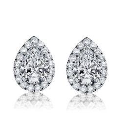 Italo Halo Pear Created White Sapphire Stud Earrings