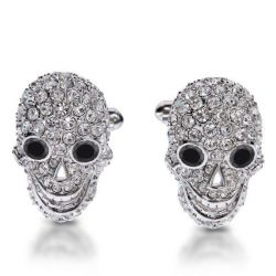 Italo Skull Created White Sapphire Sterling Silver Cufflinks