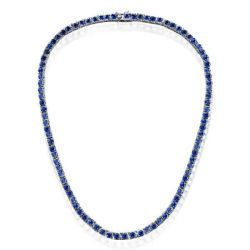 Classic Round Cut Blue Tennis Necklace For Women