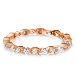 Rose Gold Milgrain Marquise Design Round Wedding Band