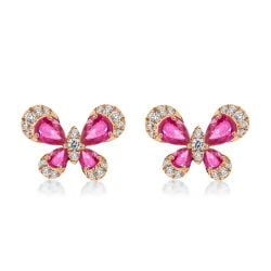 Butterfly Rose Gold Pear Cut Earrings