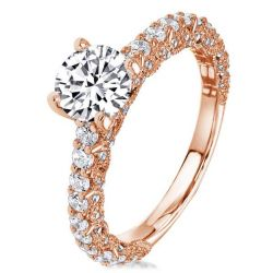 Milgrain Peg Head Rose Gold Round Engagement Ring