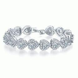 Italo Halo Heart Created White Sapphire Bracelet