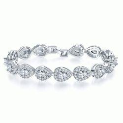 Italo Halo Pear Created White Sapphire Bracelet