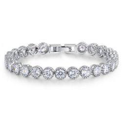 Italo Classic Round Cut Created White Sapphire Bracelet