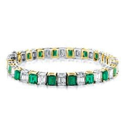 Two Tone Emerald Green & White Tennis Bracelet