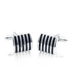 Italo Classic Black Stripe Pattern Cufflinks