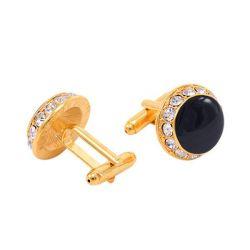 Italo Golden Halo Black Created Sapphire Cufflinks