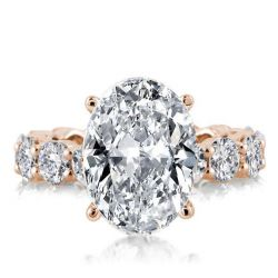 Rose Gold Eternity Oval Engagement Ring