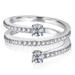 Half Eternity Spiral Design Round Cut Wedding Band