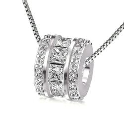 Princess & Round Cut Sterling Silver Pendant Necklace