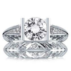 Bar Set Round Cut Bridal Ring Set For Women