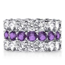 Round Eternity Amethyst Stackable Band Set