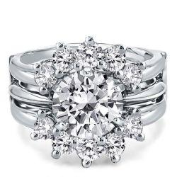 Sunflower Design Round Cut Guard Bridal Jewelry Set