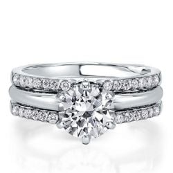 Round Cut Inset Guard Enhancers Bridal Ring Set