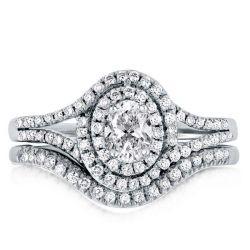 Double Halo Split Shank Oval Cut Guard Bridal Set Ring