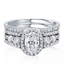 Halo Half Eternity Multi Row Oval Cut Bridal Wedding Set
