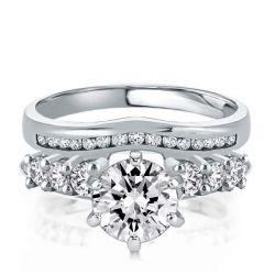 Six Prong Straight Round Cut Insert Guard Bridal Set Ring