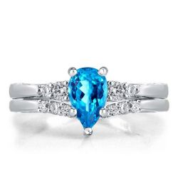 Classic Five Stone Created Aquamarine Pear Cut Bridal Set