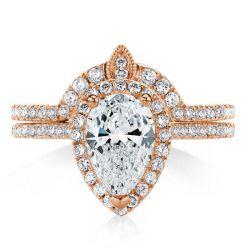 Halo U-Pave Rose Gold Pear Cut  Inset Guard Bridal Set