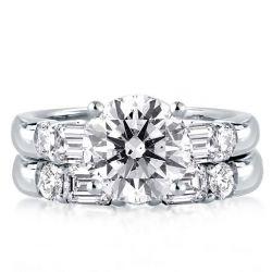 Classic Five Stone Round & Baguette Bridal Set