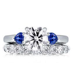 Three Stone Created Sapphire Round & Pear Cut Bridal Set