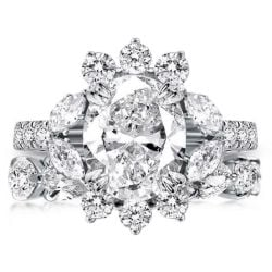Flower Double Prong Oval Bridal Set