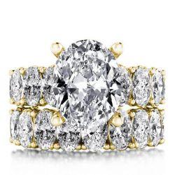 Gold Oval Cut Bridal Set