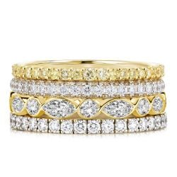 Two Tone Round & Marquise Cut Stackable Rings