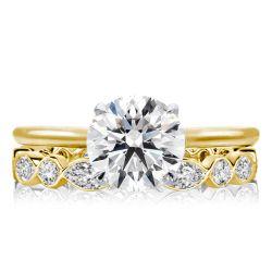 Two Tone Golden Round Cut Bridal Set