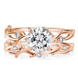 Twist Design Rose Golden Round Cut Bridal Set