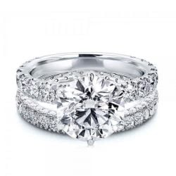 Classic Eternity Round Cut White Sapphire Bridal Set
