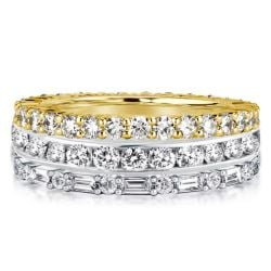 Two Tone Eternity Round & Baguette Cut Stackable Band Set