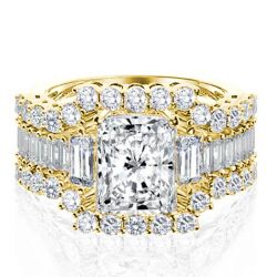 Italo Golden Three Stone Created White Sapphire 3PC Wedding Set