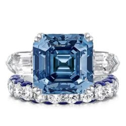 Three Stone Asscher Cut White & Blue Sapphire Bridal Set