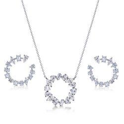Mixed Shape Pendant Necklace & Earrings Jewelry Set