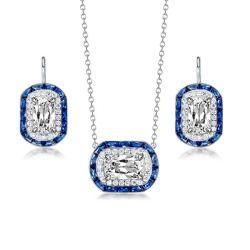 Halo Cushion Cut Created Sapphire Pendant Necklace & Earrings Set