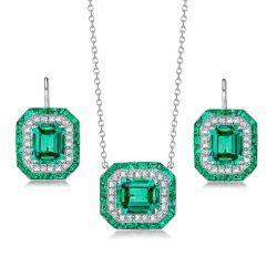 Halo Emerald Sapphire Pendant Necklace & Drop Earrings Set