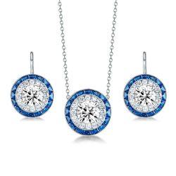 Halo Created Sapphire Pendant Necklace & Drop Earrings Set