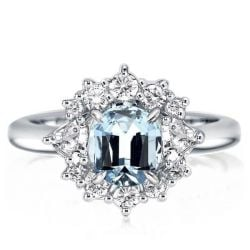 Ice & Fire Solitaire Created Aquamarine Wedding Engagement Ring(2.30ct. tw.)