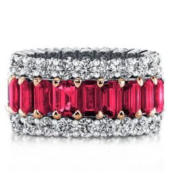 Triple Row Baguette Two Tone Created Garnet Wedding Band
