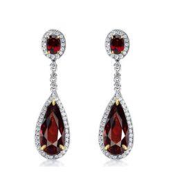 Halo Pear Cut Created Garnet Drop Earrings