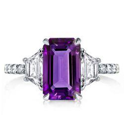 Three Stone Emerald Cut Created Amethyst Engagement Ring